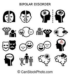 -, tristesse, concept, icônes, santé, mental, extrême, bipolaire, gens, désordre, bonheur, éprouver, vecteur
