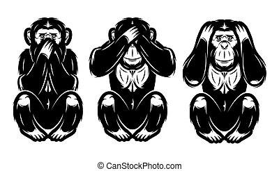 -, trois, pas, entendre, ensemble, non, voir, dire, singes