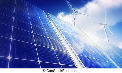 -, turbines, solaire, (loop), panneaux, vent