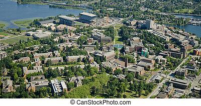 -, université, aérien, campus