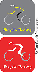 -, vélo, vecteur, courses, icône
