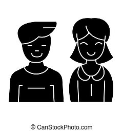 -, vecteur, arrière-plan noir, icône, isolé, homme, signe, femme, illustration