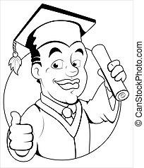 -, vecteur, caractère, jour, remise de diplomes