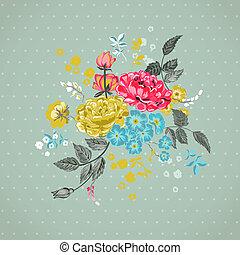 -, vecteur, fond, floral, album, conception
