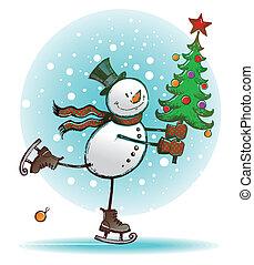 -, vecteur, hend, dessiné, arbre noël, bonhomme de neige, patinage