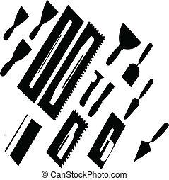 -, vecteur, peignant outils