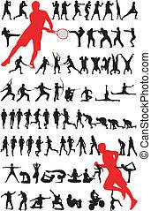 -, vecteur, silhouette, sport