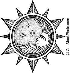 -, vecteur, stylisé, gravure, étoiles, lune, illustration