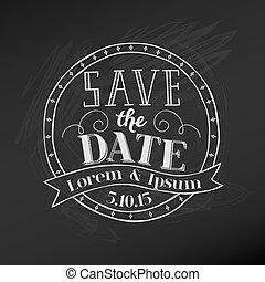-, vecteur, tableau, mariage, date, sauver, carte