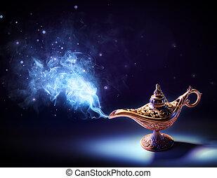 -, venir, magie, fumée, lampe, voeux