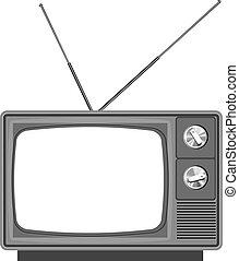 -, vide, vieux, écran, tv, tã©lã©viseur