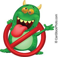 -, virus, arrêt, vert, dessin animé