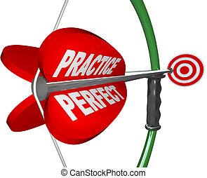 -, visé, parfait, oeil, marques, taureaux, arc, pratique, flèche
