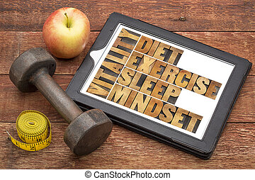 -, vitalité, régime, sommeil, exercice, mindset