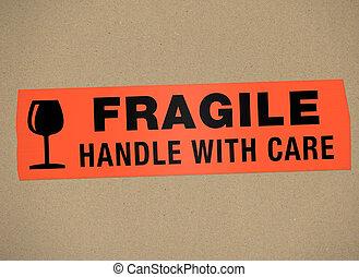 -, voiture, fragile, poignée, carton