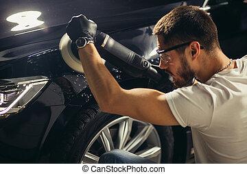 -, voiture, sélectif, détailler, shop., auto, polisseur, réparation, orbital, homme, foyer.