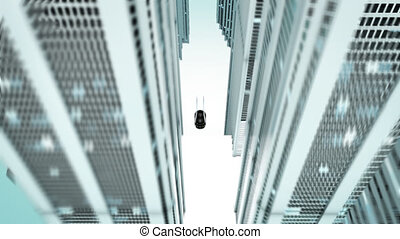 -, voiture, ville, animation, futuriste, 3d
