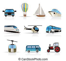 -, voyage, v, transport, icônes