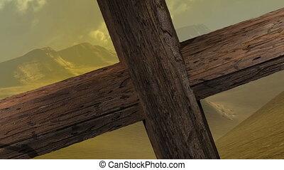 -, zoom, clous, bois, croix, appareil photo, moule, fin, deux