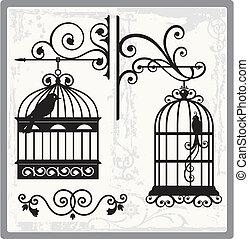 00, oiseau, cages