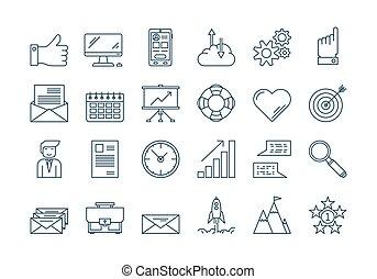 01, ensemble, contour, icones affaires