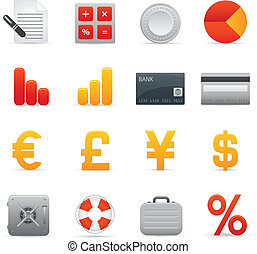 01, finance, icônes, série, ensemble,  , rouges