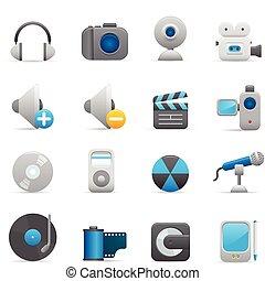 01, indigo, icônes, multimédia, serie,  