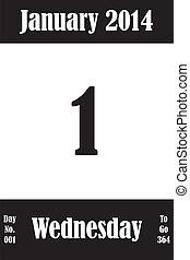 01, janvier, jours, nombre, aller, 2014, calendrier, jour, page