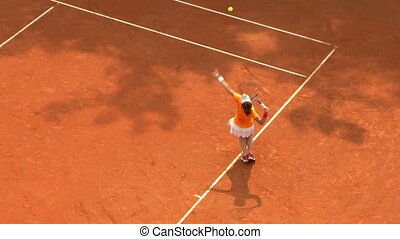 01, service tennis, jeu, orange, girl