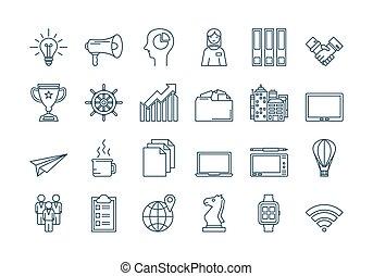 02, ensemble, contour, icones affaires