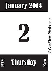 02, janvier, jours, nombre, aller, 2014, calendrier, jour, page