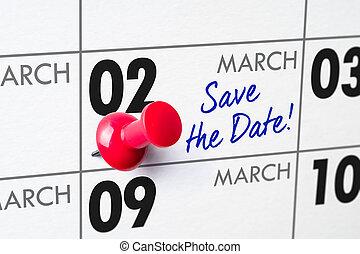 02, mars, épingle, mur, -, calendrier, rouges