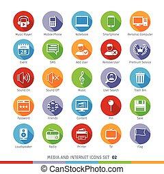 02, plat, ensemble, icônes, média, social