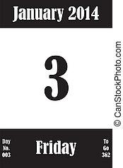 03, janvier, nombre, jours, aller, 2014, calendrier, page, jour