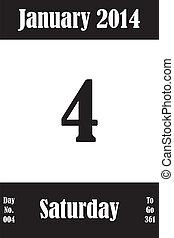 04, janvier, jours, nombre, aller, 2014, calendrier, jour, page
