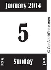 05, janvier, nombre, jours, aller, 2014, calendrier, jour, page