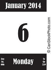 06, janvier, jours, nombre, aller, 2014, calendrier, jour, page
