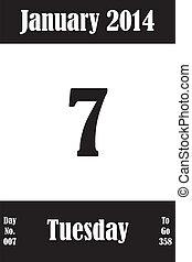 07, janvier, nombre, jours, aller, 2014, calendrier, jour, page
