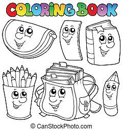 1, école, livre coloration, dessins animés
