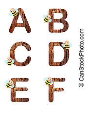 1, alphabet, fleurs