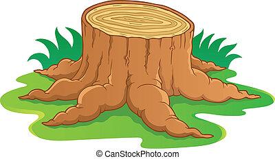 1, arbre, image, racine, thème