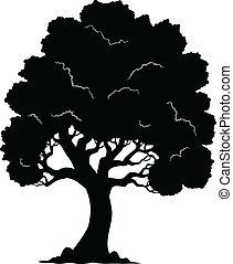1, arbre, silhouette, formé