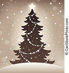 1, arbre, stylisé, silhouette, noël