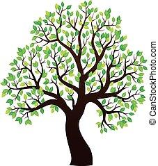 1, arbre, thème, feuillu, silhouette