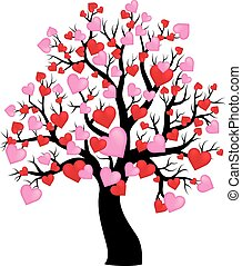 1, arbre, thème, silhouette, cœurs
