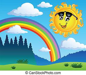 1, arc-en-ciel, paysage, soleil