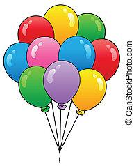 1, ballons, groupe, dessin animé