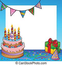 1, cadre, anniversaire, thème