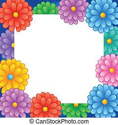1, cadre, fleur, thème