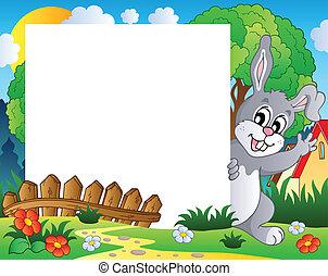 1, cadre, paques, thème, lapin